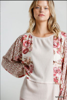 UMGEE M Floral Mixed Printed Long Puff Sleeve Waffle Knit Top With Raw Round Hem