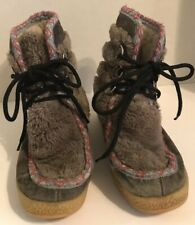 Vintage YODELERS Sz 5 Womens Gray Lace Up Boots Boho Hippie