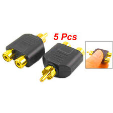 5x RCA Y Splitter 1 Male to 2 Female Plug Adapter AV Audio Gold Plated Connector