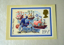 Vintage Post Office Christmas Postcards I saw Three Ships, depicting stamp