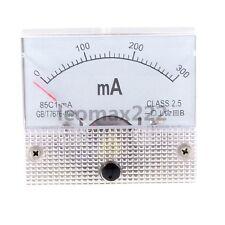 1×DC 300mA Analog Panel AMP Current Meter Ammeter Gauge 85C1 White 0-300mA DC