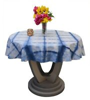 Shibori Tie Dye Table Cover Restaurant Tablecloths Handmade Indigo Tablecover
