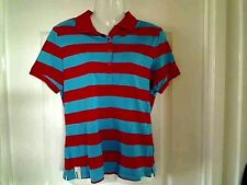 "BNWT MUSTO RED /BLUE STRIPED POLO SHIRT-CHEST 38"" SIZE 12 PERFORMANCE  WEAR"