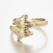 18K DOLPHIN  RING SIMPLE CLASSIC TWO DOLPHINS AT PLAY GOLD