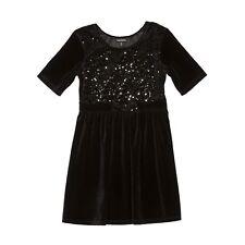 George 6 6x 10 12 black sequin lbd dress velour bow short sleeve NWT