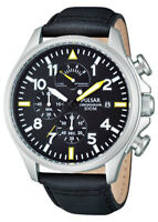 PNP OSS PS6053X1 Pulsar Mens Aviator Style Chronograph Leather Strap Watch
