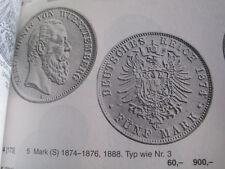 Silbermünze 5 Mark Deutsches Reich, Württemberg 1876 F König Karl  Silbermünze