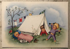 Vintage Postcard ~  Cartoon Children Camping Via Sweden 1994