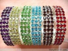 Wholesale Silver Plated 6pcs 3 Rows Rhinestone Crystal Stretch Wedding Bracelet