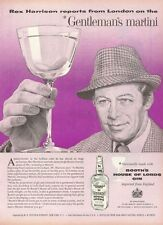 1958 Booth's House of Lords GIN from England Rex Harrison Martini PRINT AD