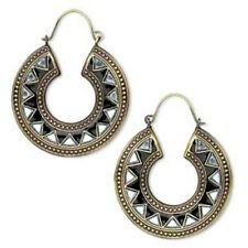Antiqued Gold Plated & Black Enamel Steel Mirror Hoop Earrings