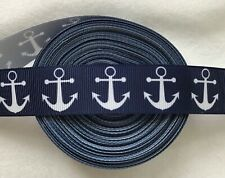 "Straight Anchors nautical white on navy Grosgrain ribbon Bty 7/8"" preppy"