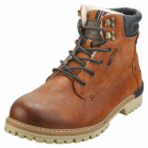 Mustang Lace Up Side Zip Mens Cognac Synthetic Chukka Boots