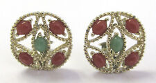 VINTAGE 1960s MOD SIGNED SARAH COVENTRY EARRINGS AMBER STONES JADE STONES