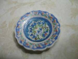 African Moroccan Peacock Pottery Plate Platter Porcelain Dollhouse Miniatures
