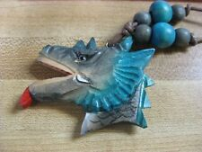 DRAGON NECKLACE  Wood carved Dragon head   . NEW ITEM