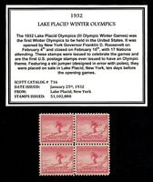 1932 - WINTER OLYMPICS - Vintage Mint -MNH- Block of Four Postage Stamps