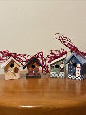Lot Of 4 Mini Wood Birdhouse Ornaments Santa Snowman Gingerbread