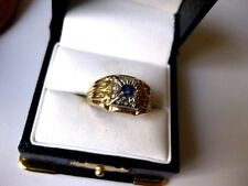 "Ring with Natural Blue Sapphire Vintage 10K 2-tone Yellow Gold ""Unisex"""