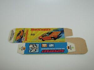 Matchbox Superfast No 53 Tanzara Flat Unfolded Box without New Never Made MINT