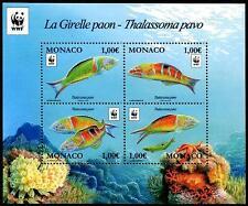 Parrotfish MNH MINI FEUILLE DE 4 Timbres WWF édition 2016 MONACO orné Wrasse