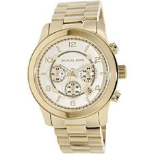New Michael Kors MK8077 Men's Runway Oversized Gold Tone Chrono Watch 45mm
