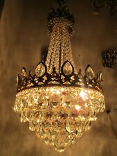 """Antique French Huge Bohemia Crystal Chandelier Ceiling Lamp 1940's 16"""" Dmteter"""