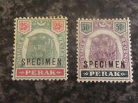 MALAYAN STATES PERAK SPECIMEN POSTAGE STAMPS SG73 & 74 1895-9 LIGHT-MOUNTED MINT