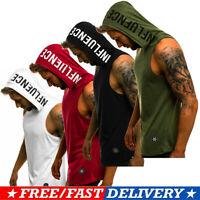 Bodybuilding Men Gym Vest Hooded Tank Top Muscle Workout Stringer Casual T-Shirt