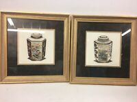 Tea Caddy I & II Limited Edition Etching Prints by Dan Mitra, Hand Colored