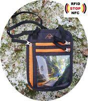 everest1953 Pumori  Brustbeutel Brusttasche mit RFID blocker schwarz orange