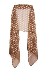 Military Brown Owl Print Unique Bold Pattern White Scarf (S1/6)