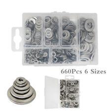 660Pcs 6 Sizes Solid Washers Gasket Set Flat Ring Seal Assortment Kit Ultra-thin