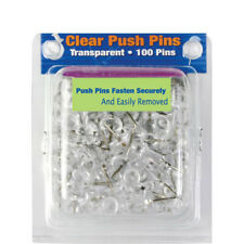 "100 Pcs Push Pin Thumb Tack Clear Color 3/8"" Message Board Office Pushpin"