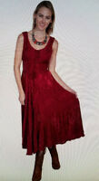 SCULLY Burgundy Red Laced Front  Western Style Dancing Valentine Dress SMALL