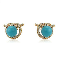 Yellow Gold Filled Turquoise Clear Crystal Love Knot Stud Earrings UK Gift 176