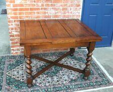 English Antique Oak Barley Twist Draw Leaf Kitchen  / Dining Table