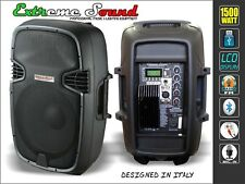 COPPIA CASSE AMPLIFICATE 1500W USB SD Mp3 Bluetooth Radio KARAOKE PROF. Kit-D10