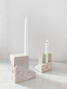 Kristina Dam studio Travertine candlestick holders- Brand - Sold Individually