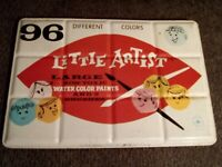 Vintage Little Artists Avalon Metal Paint Box Set Water Colors Made in England