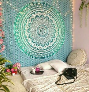 TWIN OMBRE MANDALA GREEN TAPESTRY ETHNIC COTTON HOME DECOR THROW WALL HANGING
