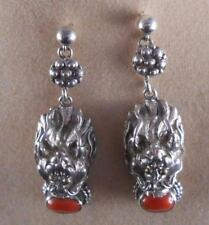 Vintage Sterling Silver Coral Earrings Lion Head