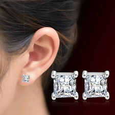 Women Fashion Jewelry 925 Sterling Silver Four Claw Zircon Crystal Stud Earrings
