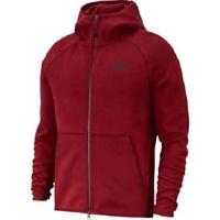 Nike NSW Tech Fleece Mens Hoodie Red Size M Sportswear Full Zip Pullover