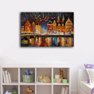 50×80×3cm Colorful Riverside Night Canvas Prints Framed Wall Art Home Decor Gift