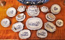 Antique Miniature Staffordshire Flow Blue 43 Piece Dollhouse China Dinner Set