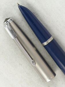 VINTAGE BLUE 1950s PARKER 51 FOUNTAIN PEN SMOOTH WRITER ~ RESTORED