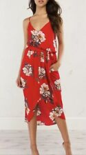 NWT Akira Red Floral Take Me There Midi Dress  Small