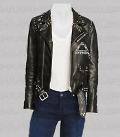 New Women Black Silver Spiked Studded Brando Style Punk Belted Leather Jacket