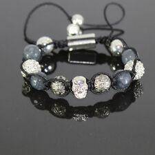 Herren Grau Biker Shamballa Armband mit Antik Beads verstellbar für Männer